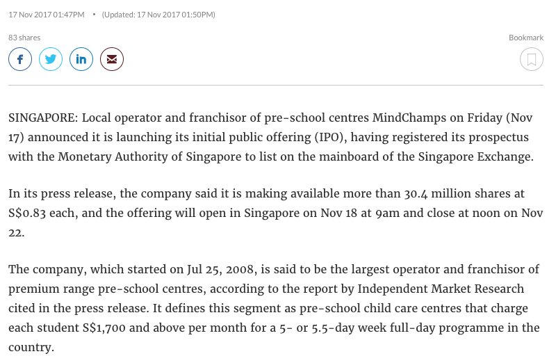 Media report on MindChamps PreSchools IPO - CNA
