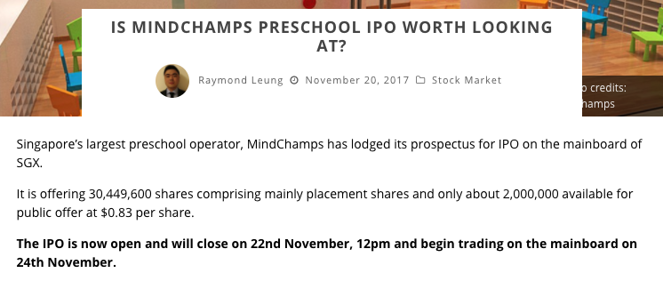 Media report on MindChamps PreSchools IPO - SharesInv.Com