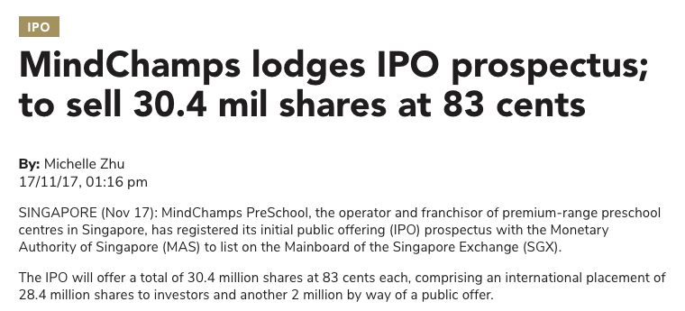 Media report on MindChamps PreSchools IPO - TheEdgeSingapore