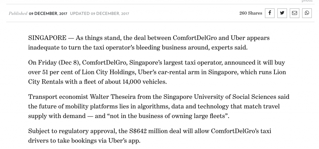 TodayOnline On ComfortDelGro Uber JV (09-Dec-2017)