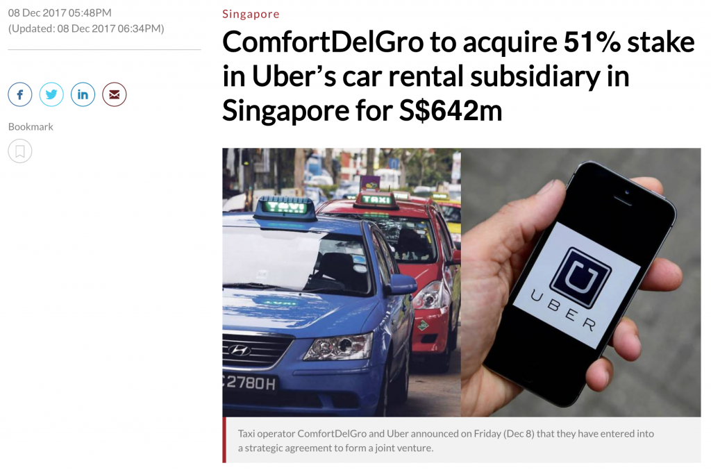 Channel News Asia on ComfortDelGro Uber JV (08-Dec-2017)
