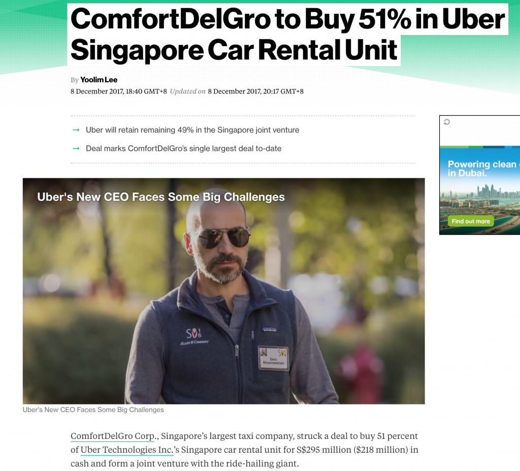 Bloomberg On ComfortDelGro Uber JV (08-Dec-2017)
