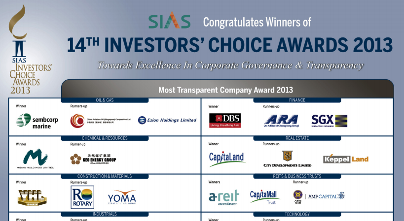 SIAS Investors Choice Award 2013