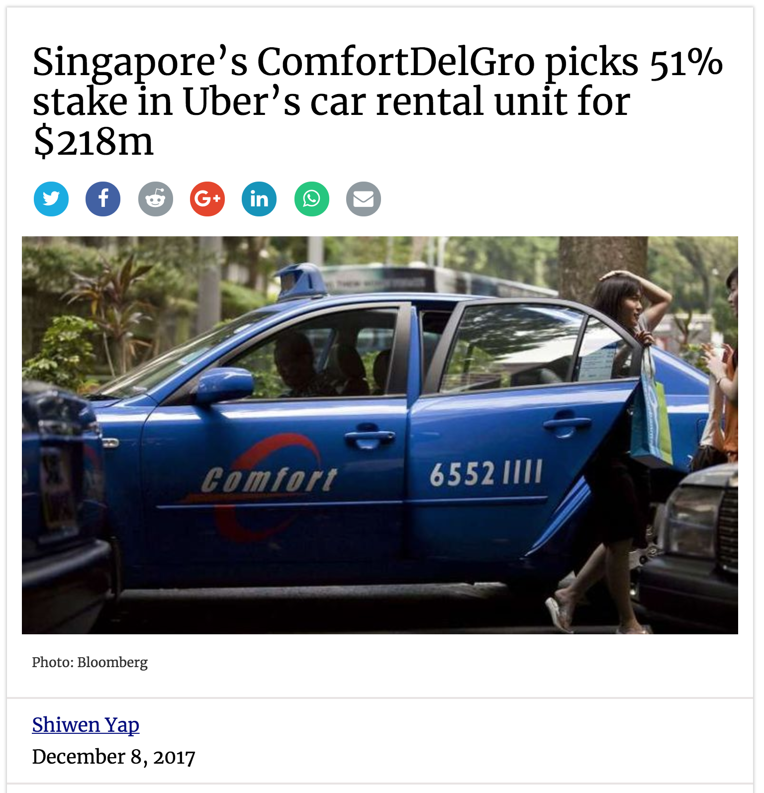 Deal Street Asia On ComfortDelGro Uber JV (08-Dec-2017)